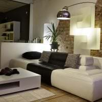 черные обои в интерьере гостиной в стиле хай тек картинка
