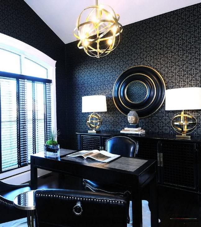 черные обои в дизайне спальни в стиле гламур