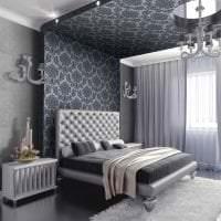 черные обои в дизайне спальни в стиле готика фото
