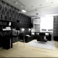 черные обои в интерьере гостиной в стиле гламур картинка