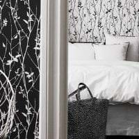 черные обои в интерьере спальни в стиле минимализм фото