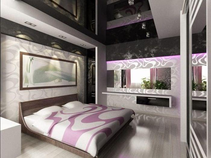 красивый черный потолок в дизайне спальни