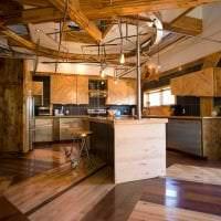 дизайн квартиры в стиле стимпанк с деревянным паркетом фото