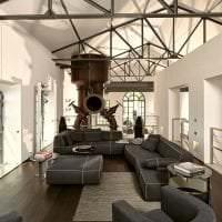 дизайн спальни в стиле стимпанк с кожаной оббивкой фото