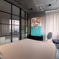 дизайн потолка с раствором бетона в спальне картинка