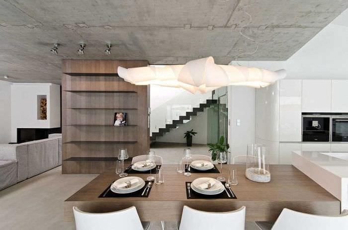 стиль потолка с раствором бетона в комнате