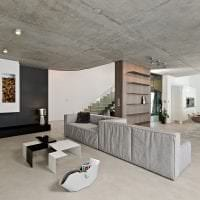 стиль потолка с бетоном в комнате фото