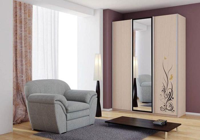 дизайн углового шкафа в коридоре из мдф