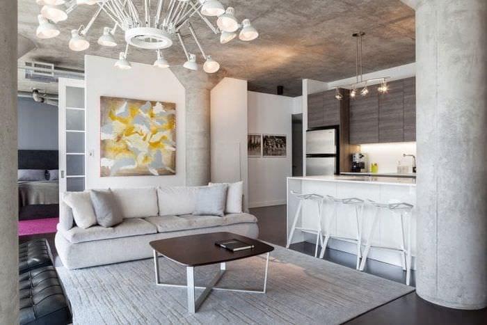 стиль потолка с бетоном в спальне