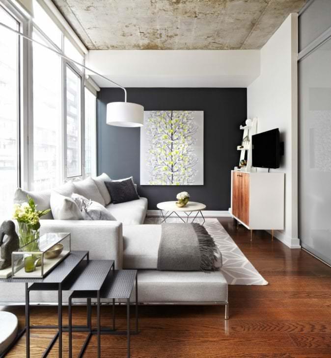 интерьер потолка с раствором бетона в гостевой