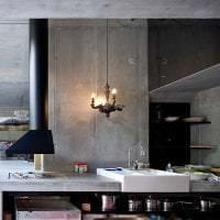 интерьер потолка с бетоном на кухне картинка