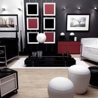изысканный дизайн спальни в черном цвете фото