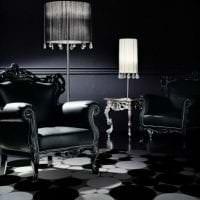 необычный интерьер коридора в черном цвете картинка