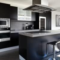 красивый дизайн коридора в черном цвете фото