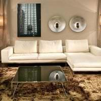 кожаный угловой диван в интерьере квартиры картинка