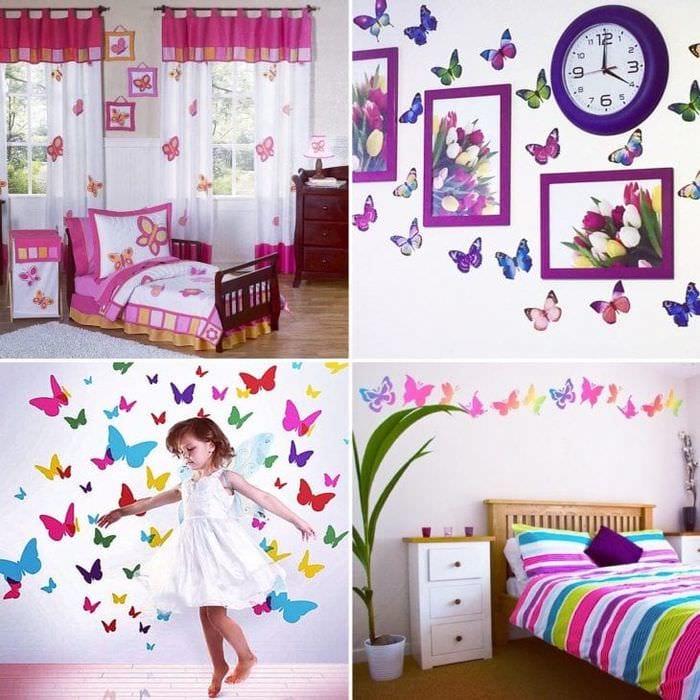 необычные бабочки в дизайне детской
