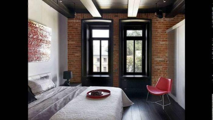 натяжной черный потолок в стиле спальни