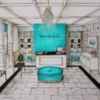 яркий цвет тиффани в дизайне коридора картинка