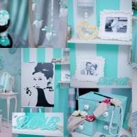 красивый цвет тиффани в интерьере спальни фото