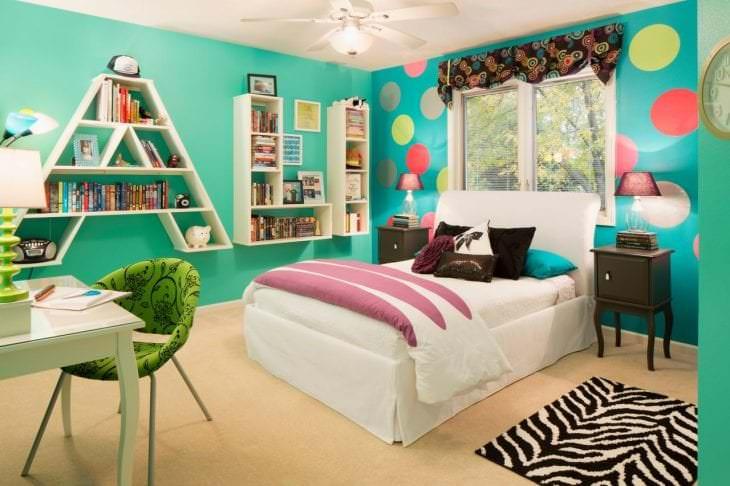 красивый цвет тиффани в интерьере комнаты