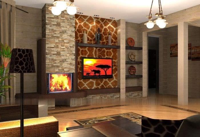 светлый дизайн коридора в африканском стиле