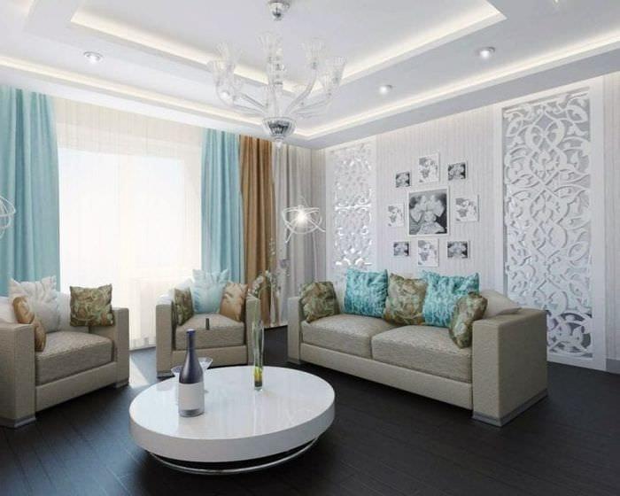 светлый декор спальни в бирюзовом цвете