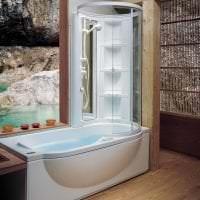 необычный декор ванной комнаты с душем в темных тонах фото