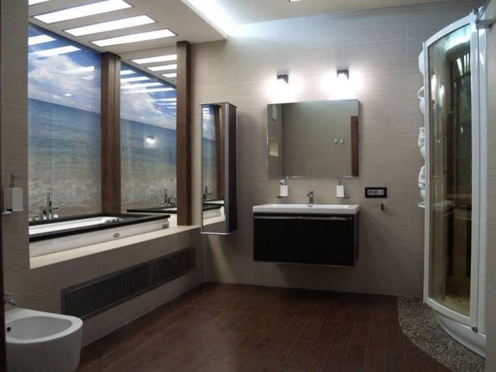 необычный стиль ванной комнаты с душем в светлых тонах