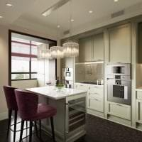 яркий интерьер бежевой кухни в стиле эко фото