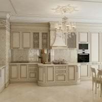 яркий интерьер бежевой кухни в стиле хай тек картинка