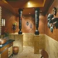 яркий дизайн гостиной в этническом стиле картинка