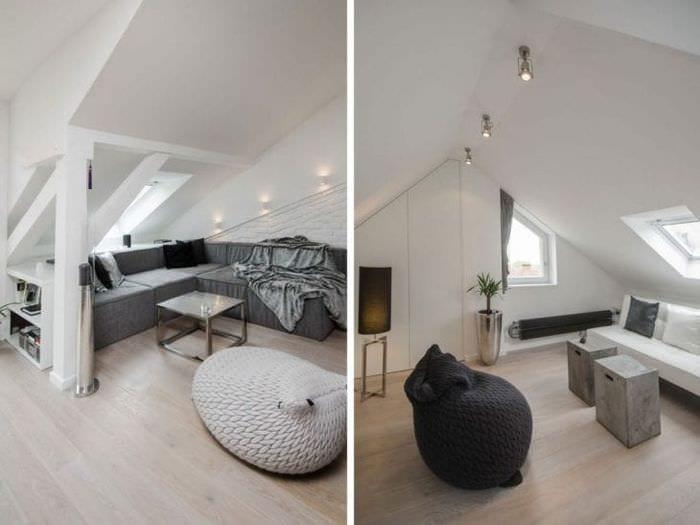 яркий дизайн гостиной в белых тонах
