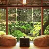 яркий декор гостиной в японском стиле фото