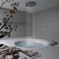 светлый дизайн ванной комнаты с душем в темных тонах картинка