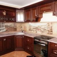 светлый фартук из плитки большого формата с изображением в интерьере кухни фото