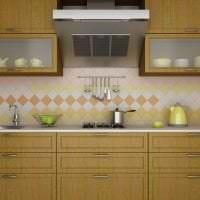 светлый фартук из плитки маленького формата с рисунком в стиле кухни картинка