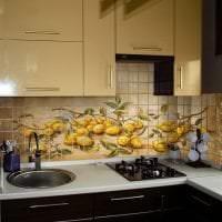 красивый фартук из плитки большого формата с изображением в интерьере кухни фото