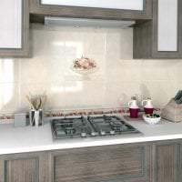 яркий фартук из плитки стандартного формата с изображением в стиле кухни картинка