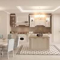 красивый стиль белой кухни с оттенком желтого фото