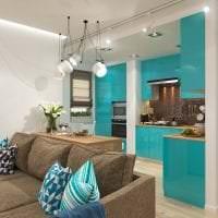 необычный дизайн коридора в бирюзовом цвете фото