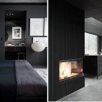необычный дизайн спальни в черном цвете картинка