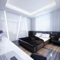 яркий дизайн спальни в черно белом цвете фото