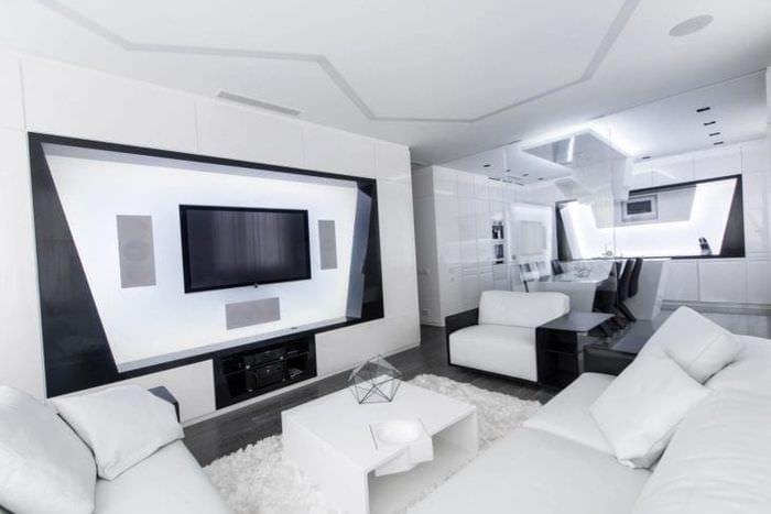 красивый декор квартиры в стиле хай тек