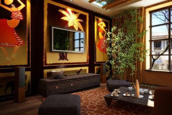 светлый дизайн квартиры в африканском стиле