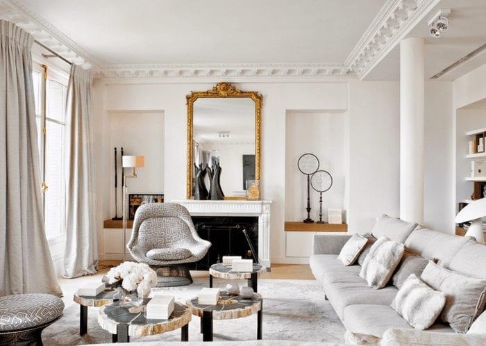 светлый интерьер квартиры в французском стиле