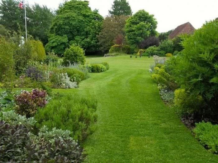 красивый ландшафтный декор двора в английском стиле с цветами