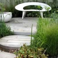 красивый ландшафтный дизайн сада в английском стиле с деревьями фото