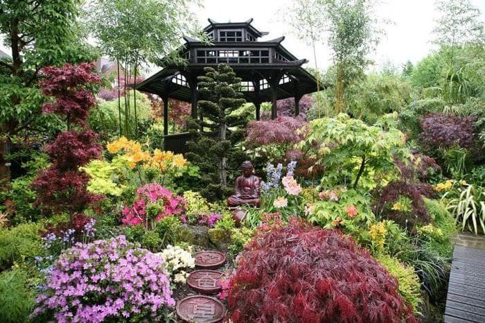 необычный ландшафтный декор двора в английском стиле с цветами