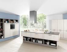 красивый стиль белой кухни с оттенком песочного фото