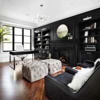 красивый дизайн спальни в черном цвете картинка